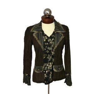 ALBERTO MAKALI crinkle jacket mixed media S
